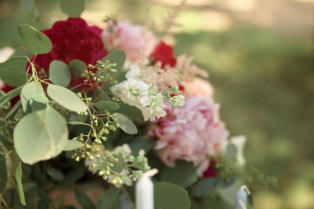 Detailopname. prachtig bruidsboeket bloemen