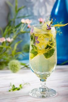 Detox koude limonade met limoen, munt en citroenschil, dieetdrank, gezonde zomercocktail