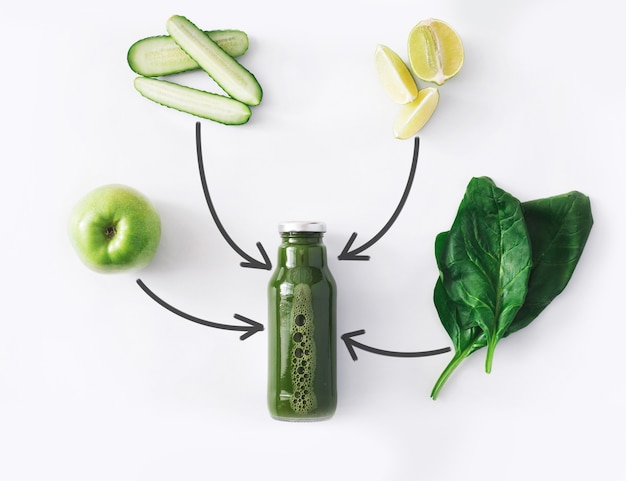 Detox reinigt drankconcept, groene groentesmoothieingrediënten. natuurlijk, biologisch gezond sap in fles voor dieet of vastendag. komkommer, appel, limoen en spinazie mix geïsoleerd op wit