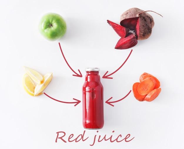 Detox reinigt drankconcept, plantaardige smoothieingrediënten. natuurlijk, biologisch gezond sap in fles voor dieet of vastendag. rode biet, appel, wortel en citroenmengeling die op wit wordt geïsoleerd