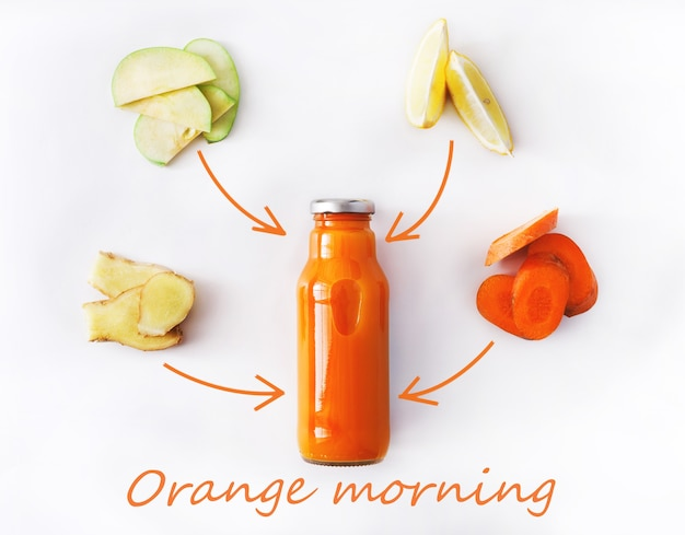Detox reinigt drankconcept, plantaardige smoothieingrediënten. natuurlijk, biologisch gezond sap in fles voor dieet of vastendag. wortel, appel, gember en citroenmengeling die op wit wordt geïsoleerd