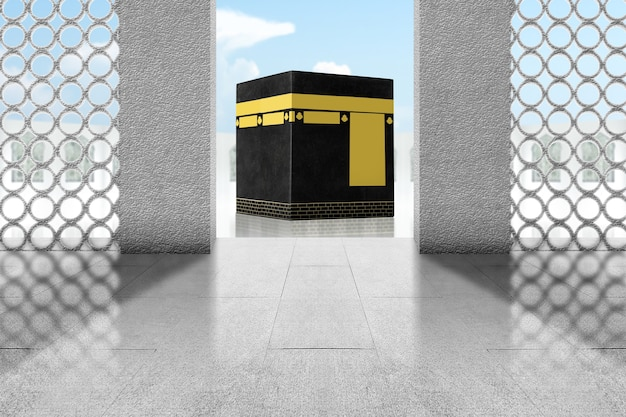 Deur met heilige kaaba-weergave met blauwe hemelachtergrond
