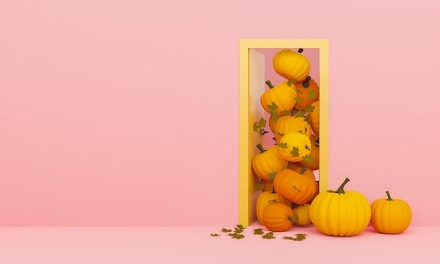 Deur met pompoenen en herfstbladeren