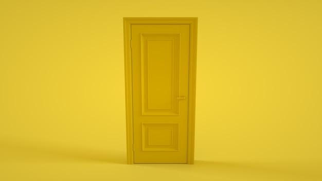 Deur op geel. 3d-weergave.
