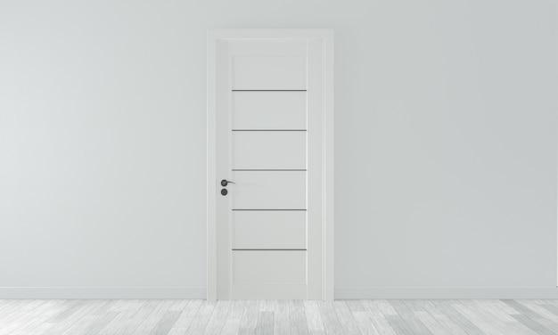 Deur op lege ruimte witte muur op witte houten vloer. 3d-weergave