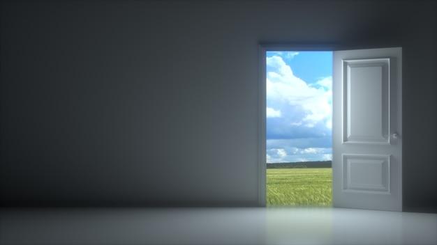 Deuren openen om mooie lucht in donkergrijze kamer te onthullen