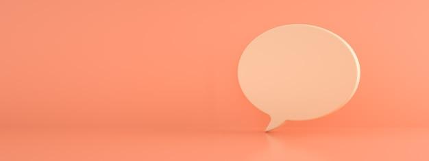 Dialoogpictogram over roze achtergrond, 3d render, panoramisch beeld