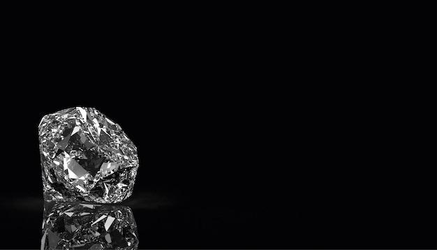 Diamant op zwarte achtergrondkleur, 3d render