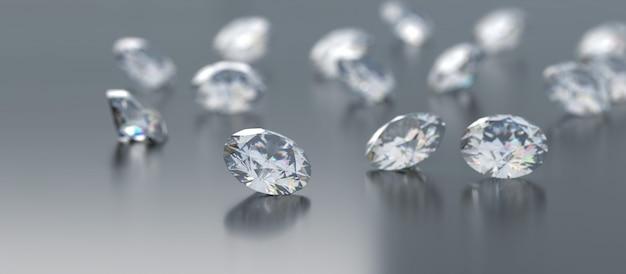 Diamanten groep geplaatst op glanzend