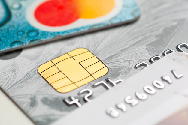 Dicht omhoog geschoten creditcard