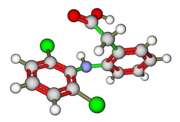 Diclofenac, een niet-steroïde anti-inflammatoir geneesmiddel. moleculaire structuur