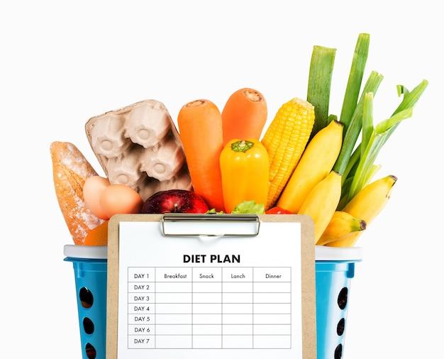 Dieetplan gezond eten, op dieet zijn, afvallen en afwegen concept