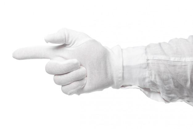 Dien een witte geïsoleerde handschoen in. opvallend gebaar. gebarenspel