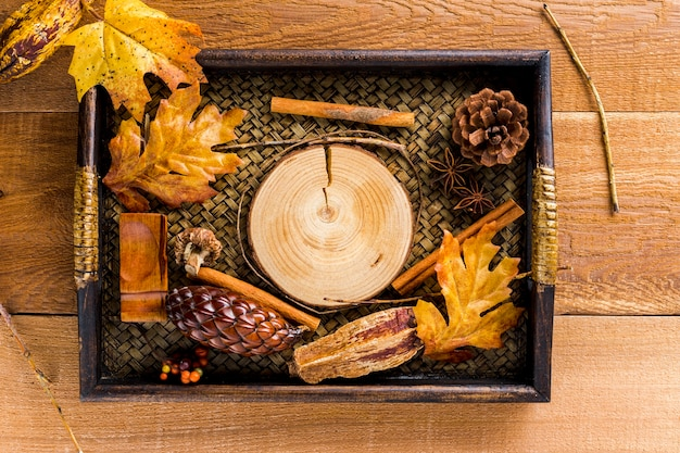 Dienblad met droge bladeren en herfstdecoratie van kegels