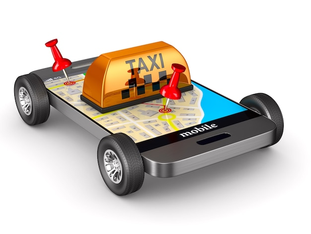 Dienst taxi op witte achtergrond. geïsoleerde 3d-afbeelding