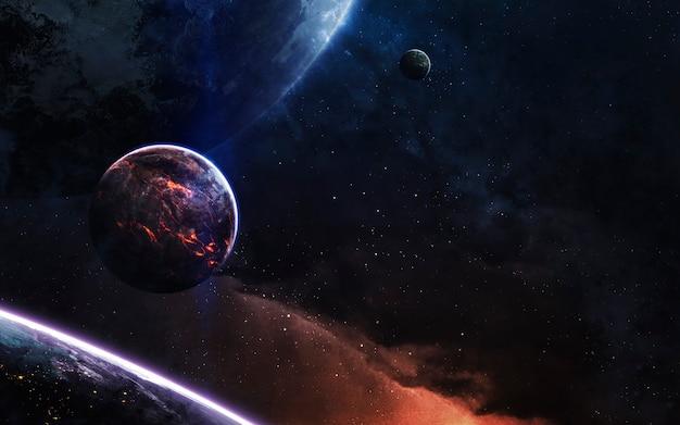 Diep ruimtelandschap met realistische planeten. elementen van deze afbeelding geleverd door nasa