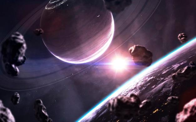 Diepe ruimte. sciencefictionbehang, planeten, sterren, melkwegstelsels en nevels in een geweldig kosmisch beeld. elementen van deze afbeelding geleverd door nasa