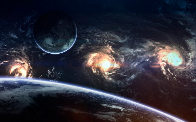 Diepe ruimteschoonheid, planeten, sterren en sterrenstelsels in een eindeloos universum.