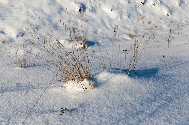 Diepe stuifzones van zachte sneeuw in de winter