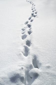 Diepe voetafdrukken in de sneeuw. sneeuwbanken na een sneeuwstorm, wegen niet vrijgemaakt.