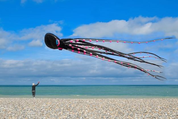 Dieppe, frankrijk - 11 september 2018: kite festival. octopus vliegers in de lucht in de atlantische oceaan