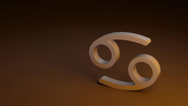 Dierenriem symbool kanker tekent 3d-rendering