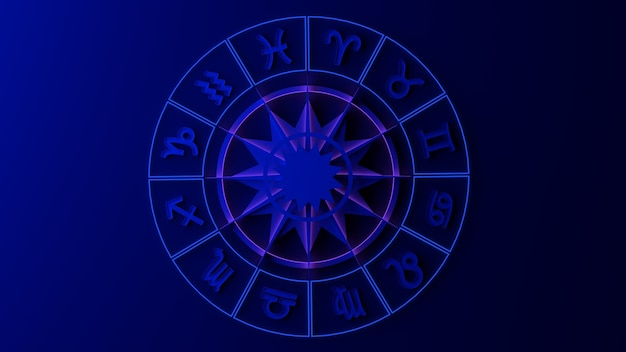 Dierenriemwiel met tekens. 3d illustratie. astrologie. horoscoop.