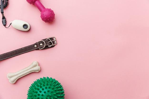 Dierenverzorging en dieren concept. speelgoed en accessoires voor het spelen en trainen van honden geïsoleerd op roze pastel trendy achtergrond
