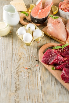 Dierlijke eiwitbronnen, vlees, eieren, zeevruchten, zuivelproducten