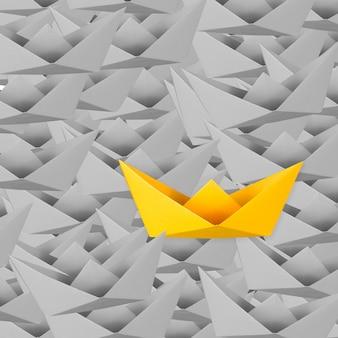 Differentiatieconcept met gele papieren boot onder grijze papieren boten