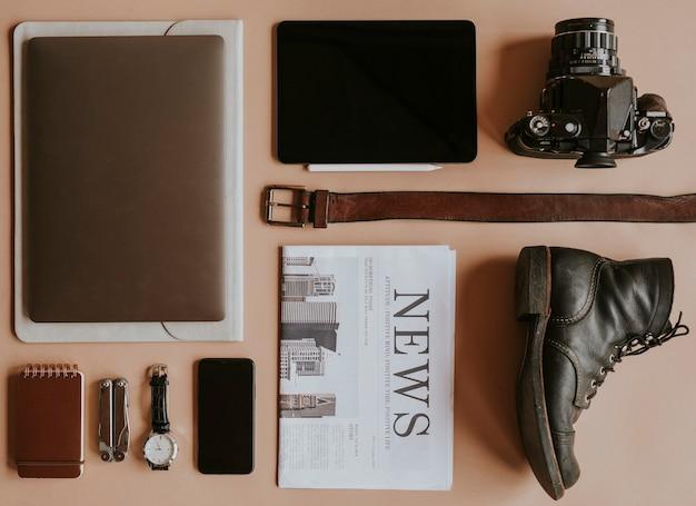 Digitaal apparaat met dagelijkse essentiële set