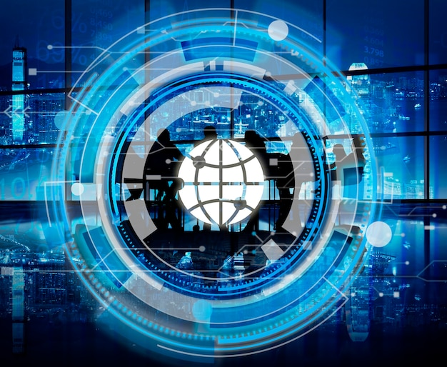 Digitaal blauw hud interface globaal concept
