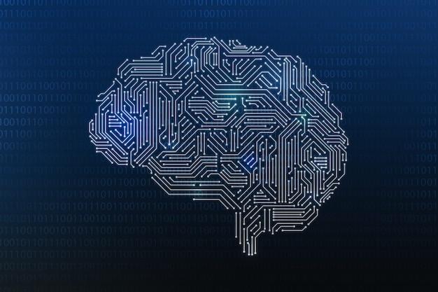 Digitaal brein voor technologie ai-concept