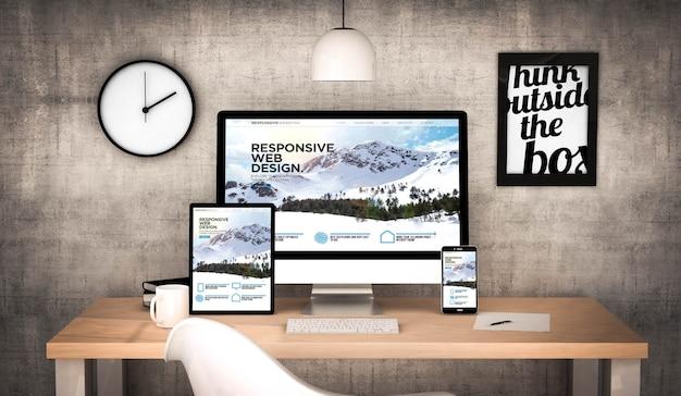 Digitaal gegenereerde werkplekdesktop met digitale tablet, computer, laptop en verschillende responsieve website voor kantoorobjecten op het scherm