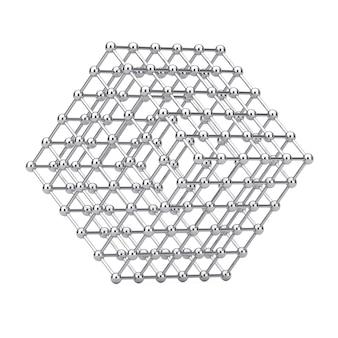 Digitaal gegevensvisualisatieconcept. abstracte chrome wireframe atom mesh cube op een witte achtergrond. 3d-rendering
