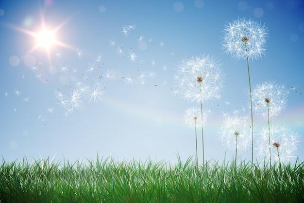 Digitaal geproduceerde paardebloemen tegen blauwe hemel