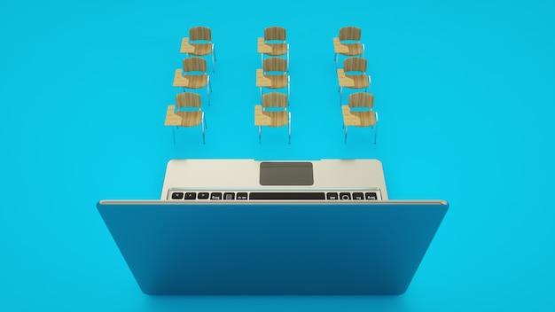 Digitaal klaslokaal online onderwijsconcept. schoolbanken en laptop.