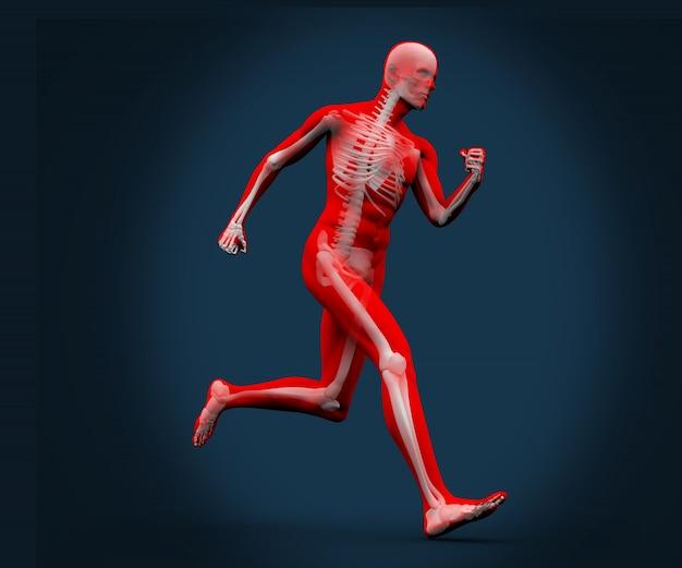 Digitaal lichaam dat op een blauwe achtergrond loopt