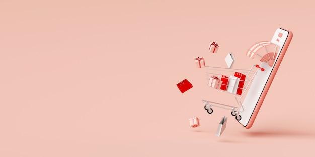 Digitaal marketing concept, die online op mobiele toepassing winkelen, de achtergrond van de webbanner, het 3d teruggeven