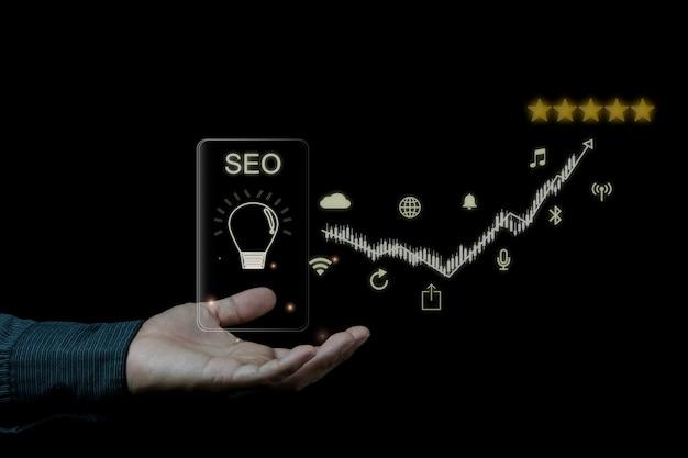 Digitaal marketing seo-fotoconceptidee met speciale infographic inhoud