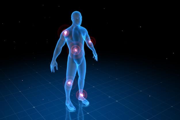 Digitaal menselijk lichaam met zichtbare pijn op verschillende plaatsen