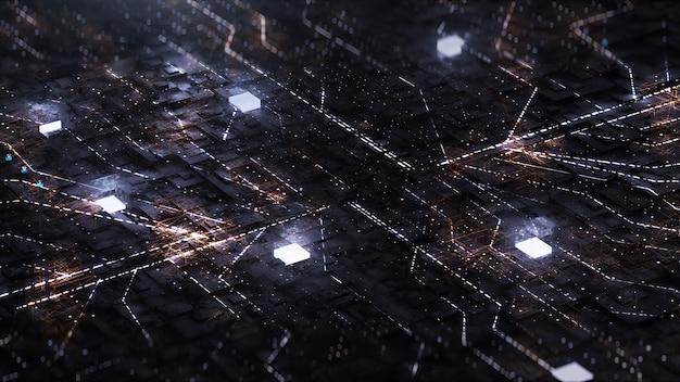 Digitaal met neon circuit en kubus