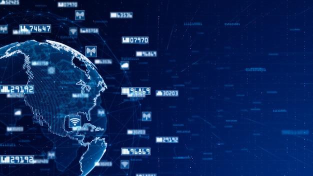 Digitaal netwerkgegevens en communicatienetwerkconcept. wereld oorspronkelijke bron van nasa