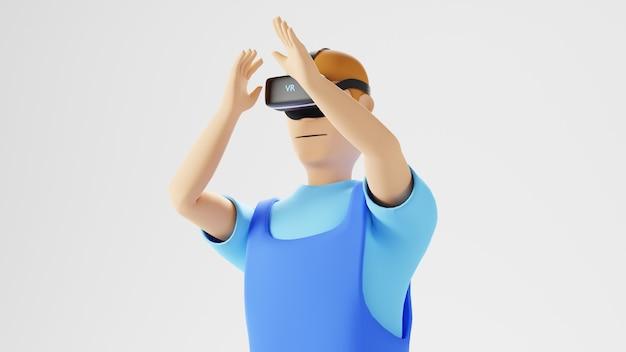 Digitaal online onderwijs. 3d van een man die vr draagt over leren op telefoon en computer.
