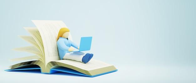 Digitaal online onderwijs. 3d van een meisje leert op computer op boek. sociale afstand concept. classroom online internetnetwerk.