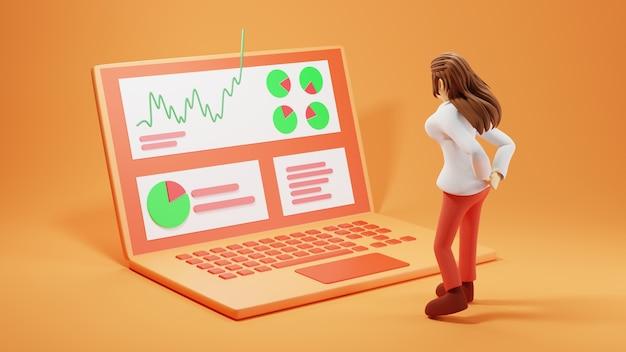 Digitaal online onderwijs. 3d van meisje dat notebook speelt over leren op de computer.