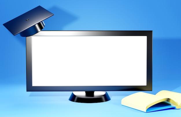 Digitaal online onderwijs. 3d van monitor en afstuderenhoed op de planken over het leren op telefoon, computer.