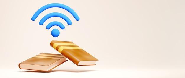 Digitaal online onderwijs. 3d van wifisymbool en boeken over het leren op telefoon, computer. sociale afstand concept. classroom online internetnetwerk.