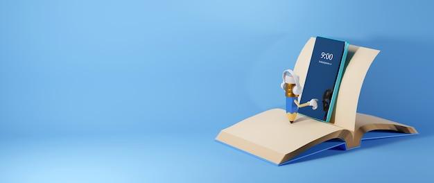Digitaal online onderwijs. 3d-weergave van een potlood gebruikt mobiele telefoon op boek op blauwe muur.