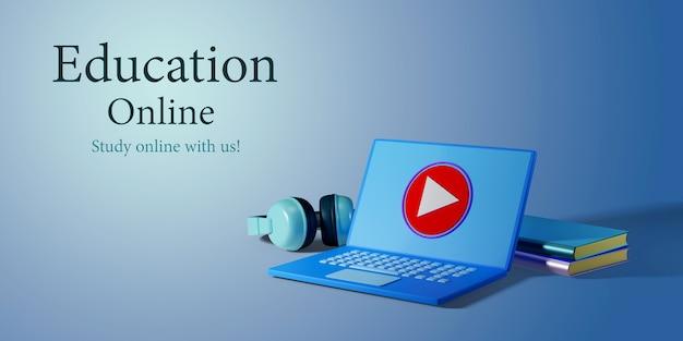 Digitaal online onderwijs. 3d-weergave van minimaal notitieboekje en boeken over blauwe muur.